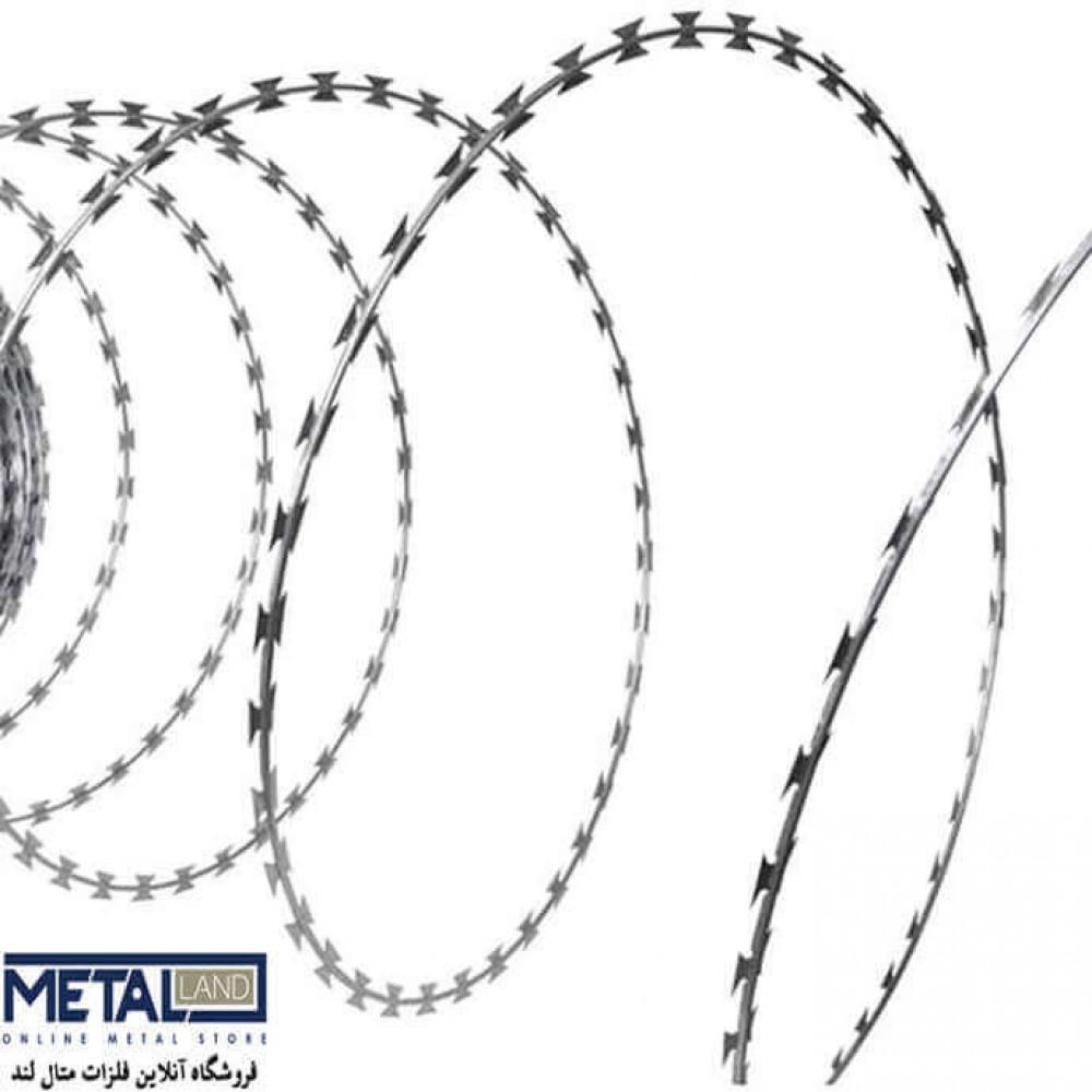 سیم خاردار تبری گالوانیزه - قطر مفتول 2 mm قطر حلقه 600 mm طول 10000 mm